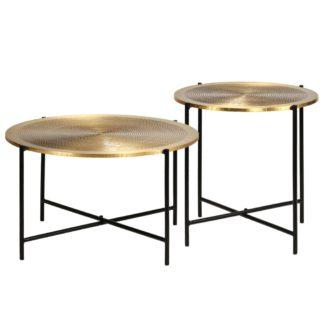 Urban Lifestyle Tisch-Set 2-tlg. MDF mit Messingbeschichtung