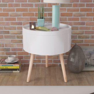 Urban Lifestyle Beistelltisch mit Serviertablett rund 39,5×44,5 cm weiß